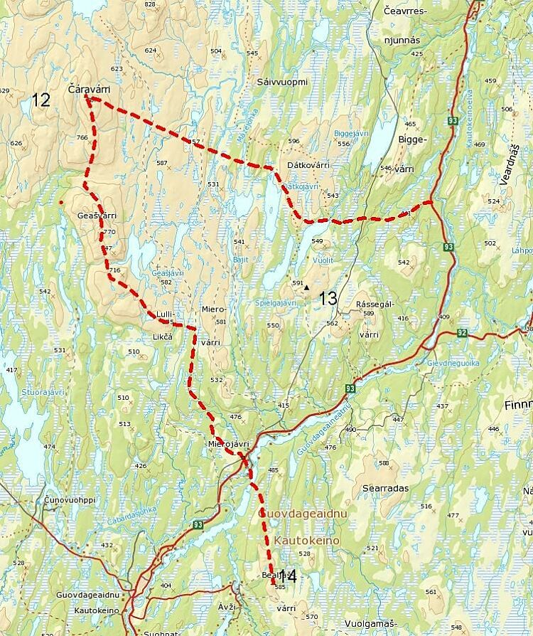 Map showing possible inland routes to Kautokeino.