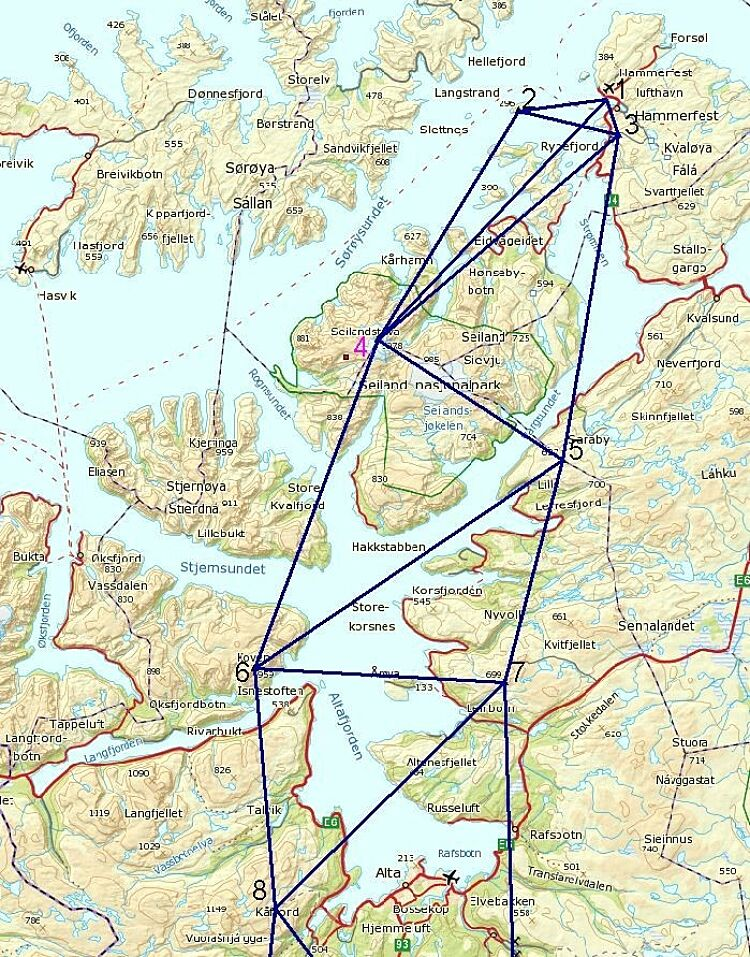 Map with extract of the 5 intermediate stations in the chain of survey triangulation.