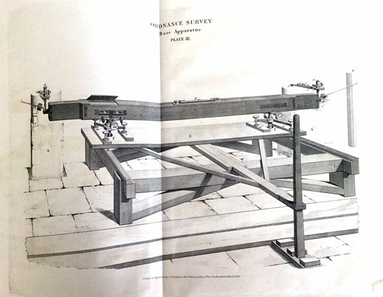 "Drawing of apparatus used for measuring the basis line. From the publication ""Principal triangulation"". 1858. London,"