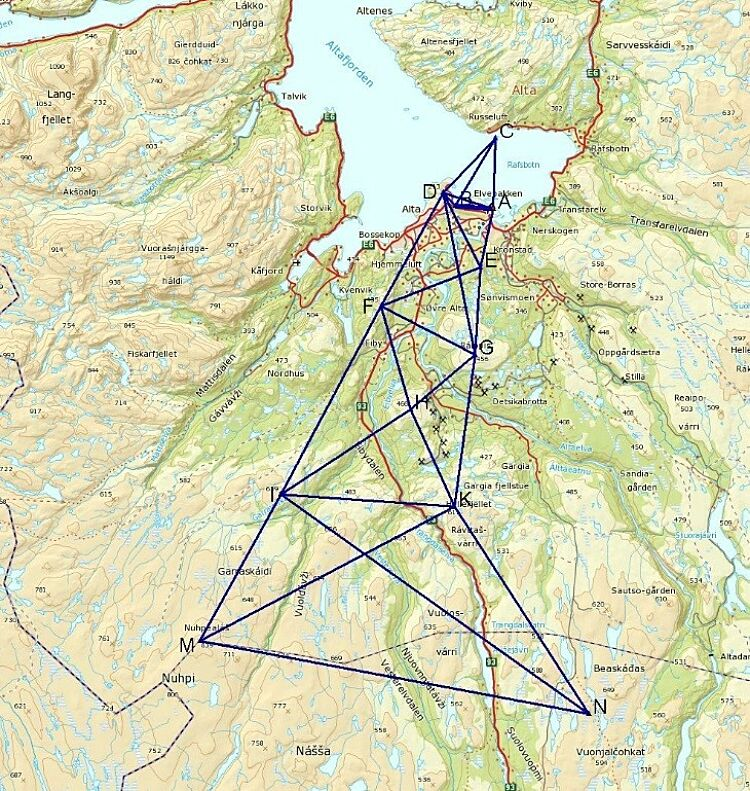 Map with the extended triangulation net in Alta.