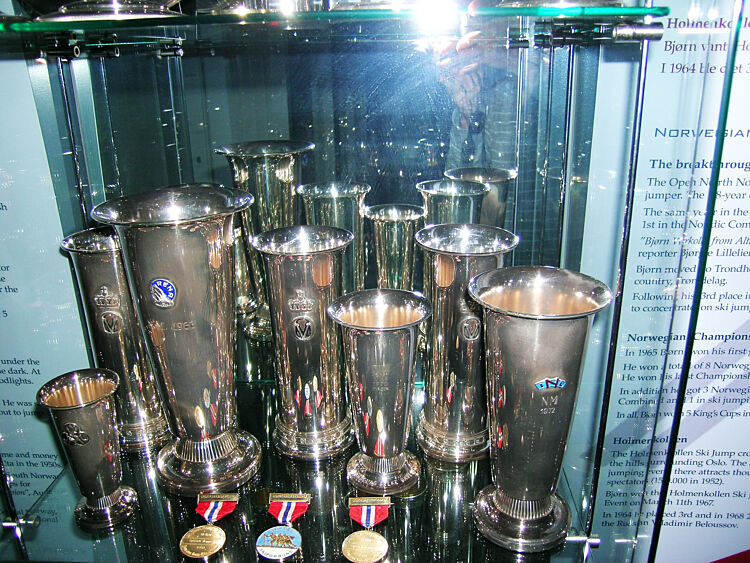 Some of Wirkola's cups and prizes.